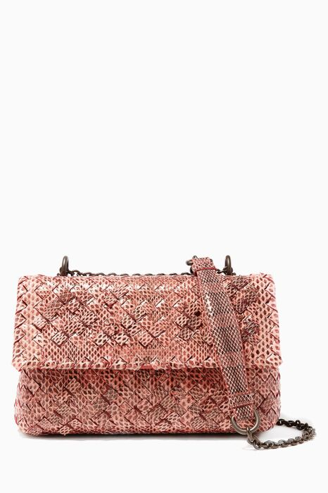 Dusty Rose Baby Olimpia Exotic Intrecciato Leather Shoulder Bag