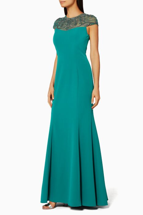 Green Embellished Mermaid Gown