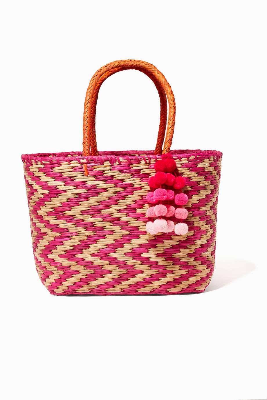 Shop Luxury Nannacay Pink Madagascar Pompom Bag   Ounass Kuwait 148c26763d