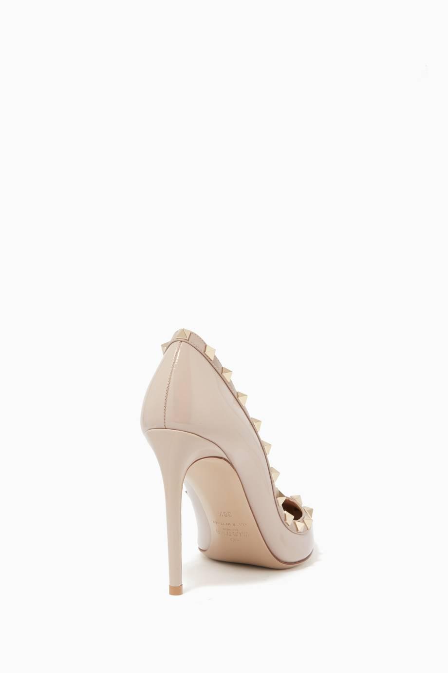 ce8e5fbb9ba61 تسوق حذاء كعب عالي روكستد جلد لامع لونين بودر من فالنتينو