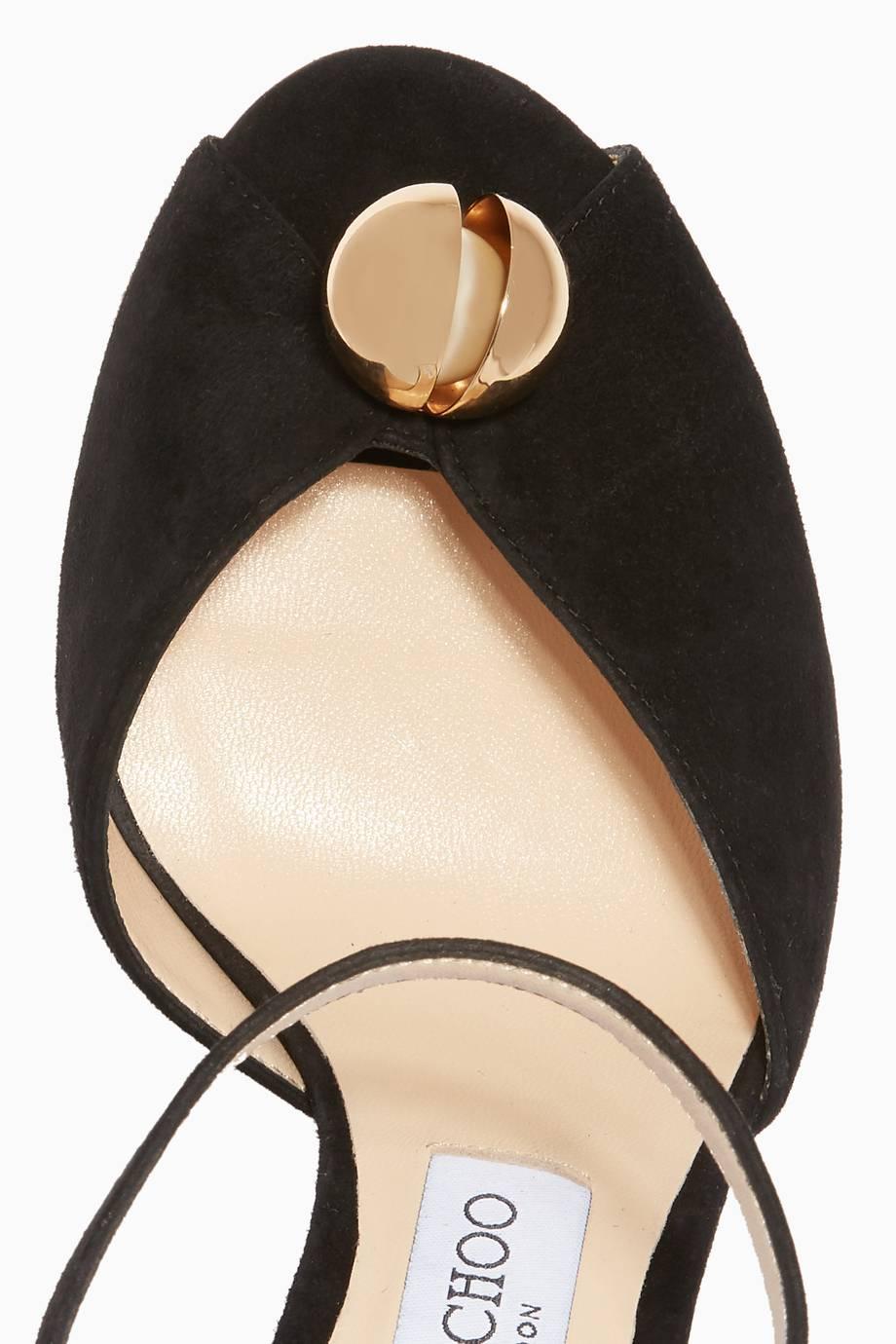 a7550fbf945 Shop Luxury Jimmy Choo Black Sacora Suede Sandals