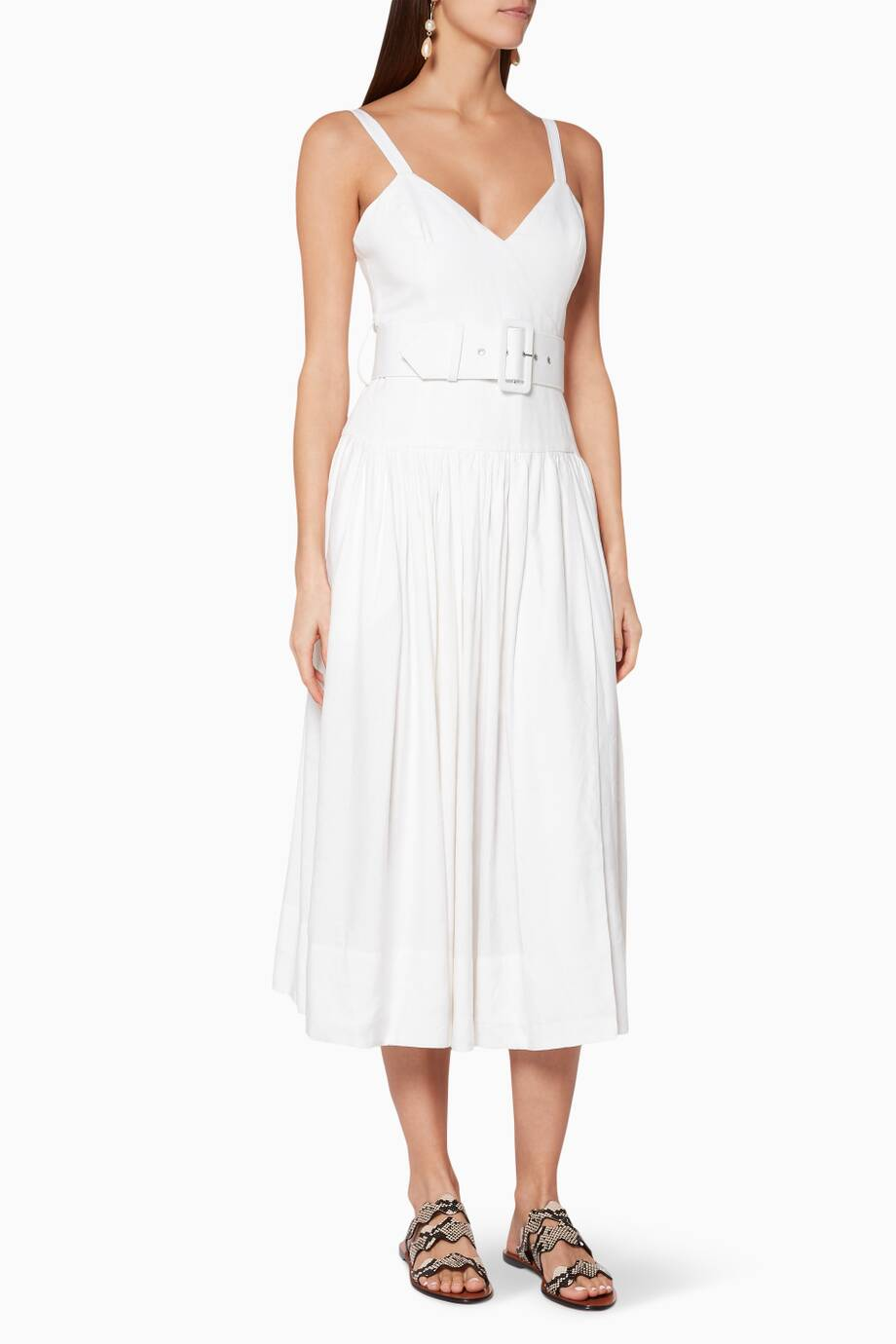 457cb9494d Shop Luxury SHONA JOY White Gaia Linen Midi Dress